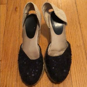 Shoes - Sequined espadrille wedged